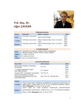 Yrd. Doç. Dr. Uğur ÇAVDAR - Celal Bayar Üniversitesi