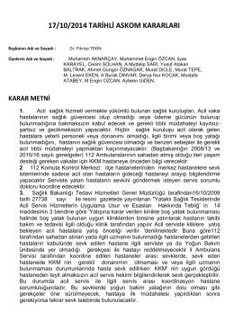 17/10/2014 TARİHLİ ASKOM KARARLARI