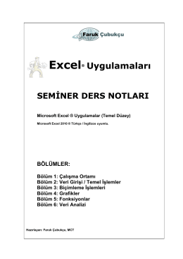 Excel® Uygulamaları