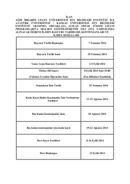 ilan ağrı ibrahim çeçen üniversitesi fen bilimleri enstitüsü ile atatürk