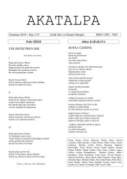 Temmuz 2014 - Sayı 175 Aylık Şiir ve Eleştiri Dergisi