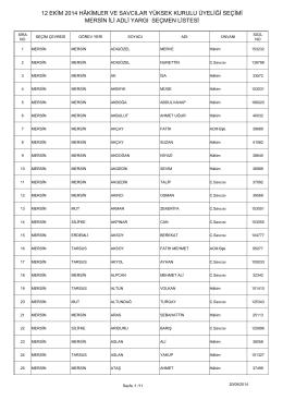 mersin ili adli yargı seçmen listesi 12 ekim 2014 hâkimler ve savcılar