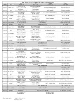 2015 yılı şubat ayı acil klinik hekim çalışma listesi