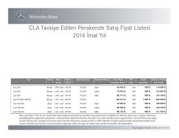 CLA Tavsiye Edilen Perakende Satış Fiyat Listesi - Mercedes-Benz