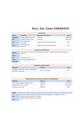 Ress. Ast. Caner KARAKAYA - Celal Bayar Üniversitesi