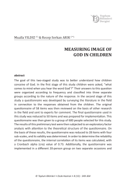 MEASURING IMAGE OF GOD IN CHILDREN