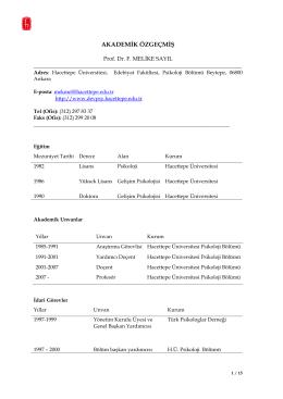 Ayrıntılı CV pdf formu için tıklayınız - Psikoloji Bölümü