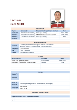 Lecturer Cem MERT - Celal Bayar Üniversitesi