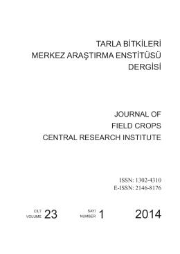 tarla bitkileri merkez araştırma enstitüsü dergisi