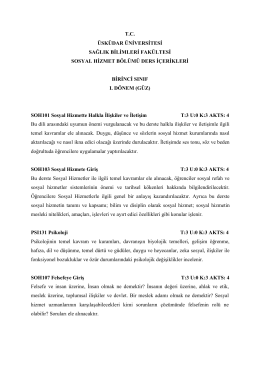 Sosyal Hizmet Ders İçerikleri - Sağlık Bilimleri Fakültesi