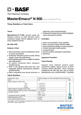 MasterEmaco® N 900 (Eski Adı EMACO® 90) Yüzey