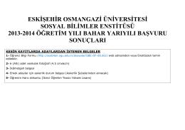 eskişehir osmangazi üniversitesi sosyal bilimler enstitüsü 2013