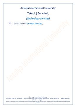 E-Mail Services - Uluslararası Antalya Üniversitesi