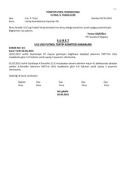 u12 tertip komitesi kararı - TFF İstanbul İl Başkanlığı