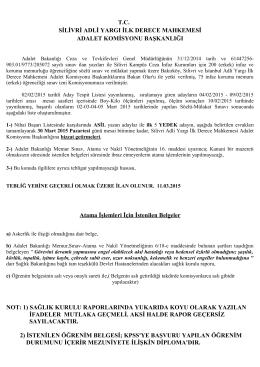 NİHAİ BAŞARI LİSTESİ 11.03.2015