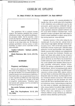 GEBELİK VE EPİLEPSİ - Klinik Psikofarmakoloji Bülteni