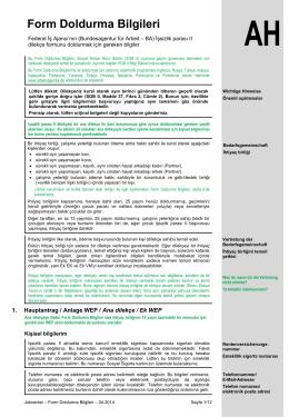 Form Doldurma Bilgileri - Bundesagentur für Arbeit