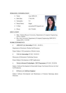 Fotoğraflı CV Formu - Yıldırım Beyazıt Üniversitesi
