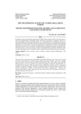 BIST 100 Endeksi İle Alternatif Yatırım Araçlarının İlişkisi