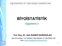 Uygulama III - Biyoistatistik ve Tıbbi Bilişim Anabilim Dalı