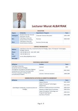 Lecturer Murat ALBAYRAK Computer Programming CV
