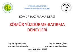 kömür yüzdürme batırma - İstanbul Üniversitesi