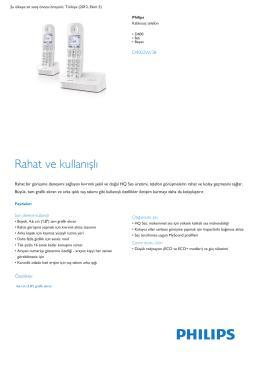 Product Leaflet: D400 İkili Beyaz Kablosuz telefon