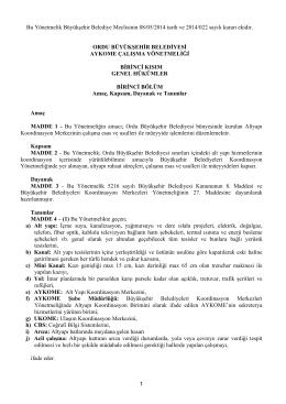 Aykome Çalışma Yönetmeliği - Ordu Büyükşehir Belediyesi