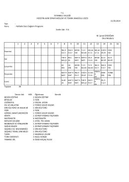 Sayı : Konu : Haftalık Ders Dağıtım Programı 1 2 3 4 5 6 7 8 9 10 11