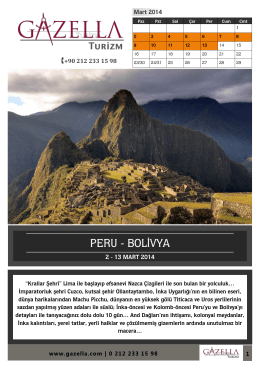 PERU - BOLİVYA - Gazella Turizm