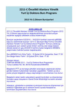 2211-C Öncelikli Alanlara Yönelik Yurt İçi Doktora Burs
