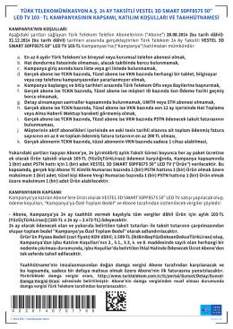 türk telekomünikasyon a.ş. 24 ay taksitli vestel 3d smart 50pf8575 50