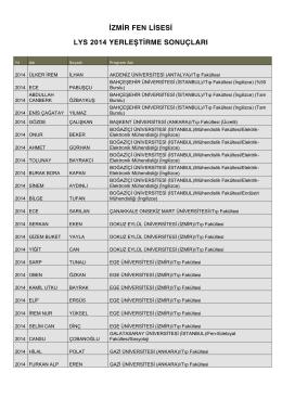 izmir fen lisesi 2014 yerleştirme sonuçları