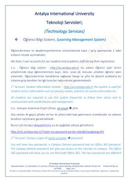 Learning Management System - Uluslararası Antalya Üniversitesi
