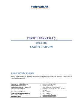 Ek-1:Tekstilbank Faaliyet Raporu 12 2013