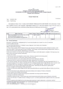 Ek: Teknik Şartname - Eskişehir Devlet Hastanesi