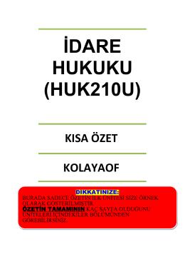 İDARE HUKUKU (HUK210U)