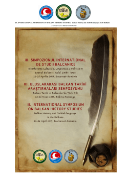 III. INTERNATIONAL SYMPOSIUM ON BALKAN HISTORY STUDIES