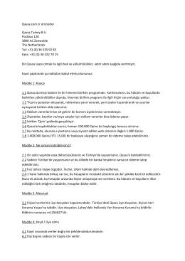 Qassa.com.tr ürünüdür Qassa Turkey B.V. Postbus 120 3890 AC