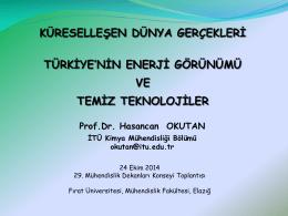 Prof. Dr. Hasan Can OKUTAN (İTÜ Kimya Mühendisliği Bölümü)