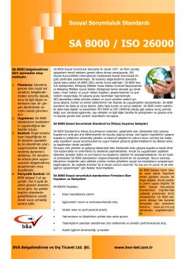 SA 8000 / ISO 26000 Sosyal Sorumluluk Standardı