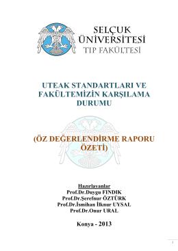 öz değerlendirme raporu özeti - Selçuk Üniversitesi Tıp Fakültesi