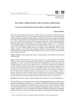 Koca Nişancı Celâlzâde Mustafa Çelebi ve Eserlerine Toplu Bir