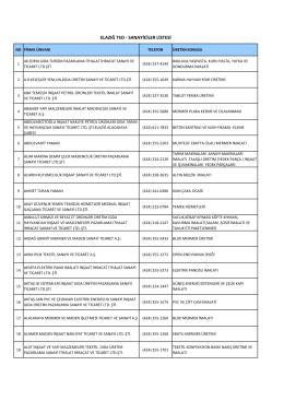 Sanayici Listesi - Elazığ Ticaret ve Sanayi Odası