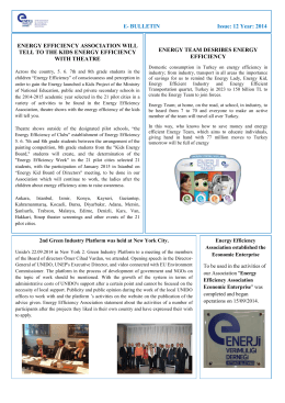 E- BULLETIN Issue: 12 Year: 2014 ENERGY EFFICIENCY