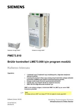 PME73.810 Brülör kontrolleri LME73.000 için program