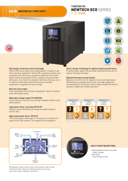 Newtech Eco 1-2-3 kVA Data Sheet