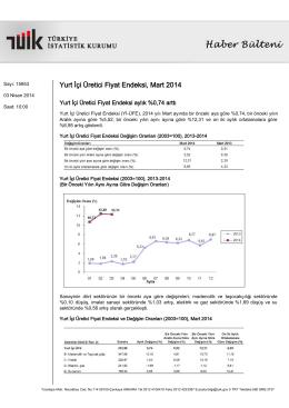 Yurt İçi Üretici Fiyat Endeksi-(Mart 2014