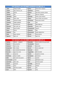 YDS İçin Önemli 240 Kelime ve Türkçe Karşılıkları