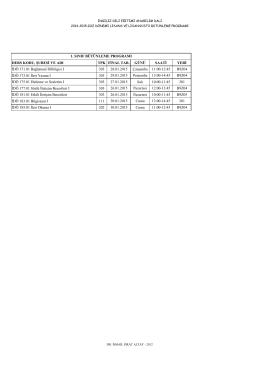2014-2015 güz dönemi lisans-lisansüstü bütünleme programı